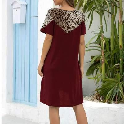 Fashion Leopard print Gored Round neck Short sleeve Shift Dresses