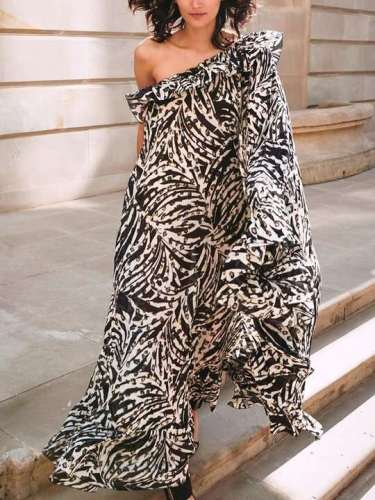 Fashion Print Sloping shoulder Unilateral sleeve Falbala Maxi Dresses