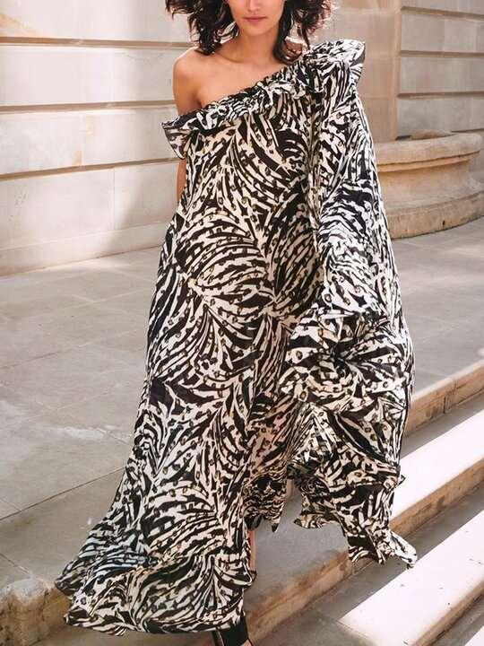 Fashion Print Sloping shoulder Unilateral sleeve Falbala Maxi Dresses