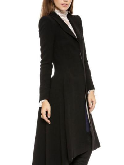 Big lapel women plain fashion long coats