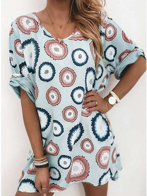 Casual Print Round neck Half sleeve Long T-Shirts