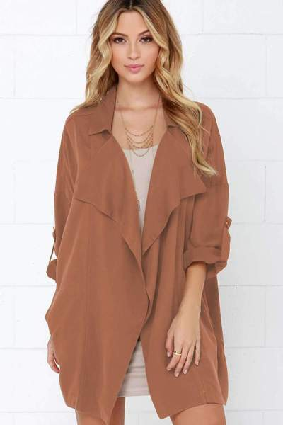 Casual Loose Lapel Long sleeve Trench Coats