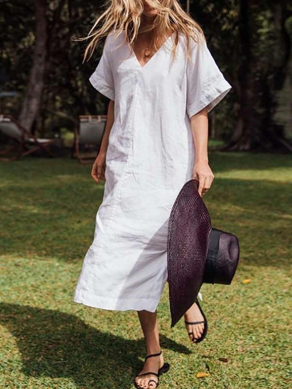 Casual Loose Pure V neck Short sleeve Vent Maxi Dresses