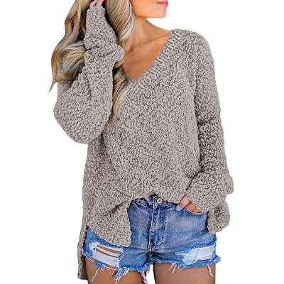 Fashion Vent V neck Knit Long sleeve Sweaters