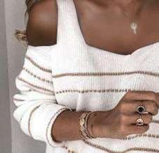 Fashion Stripe Square collar Off shoulder Long sleeve Knit Sweaters
