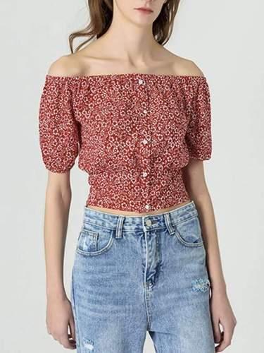 Women Short Lantern Sleeve Chiffon T-shirt