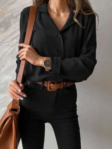 Fashion Pure Lapel Long sleeve Blouses