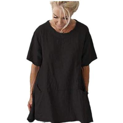Fashion Casual Loose Pure Gored Pocket Round neck Short sleeve Plus T-Shirts