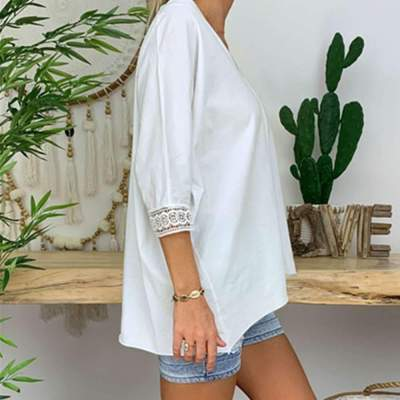 Loose Plus Pure Lace V neck Long sleeve Blouses