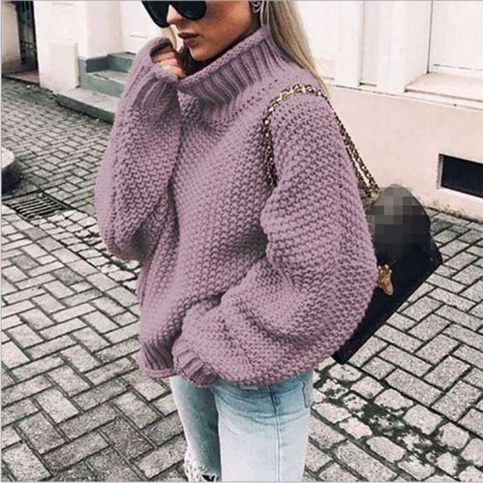 New Fashion High collar Long sleeve Knit Sweaters