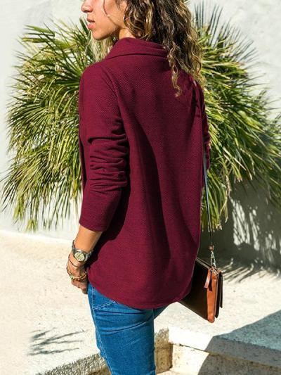 Fashion Plus Size Slanted Hook Casual T-shirt
