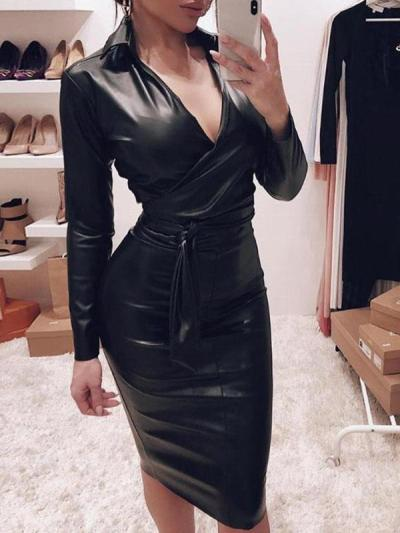 Sexy cool v neck long sleeve bodycon dresses