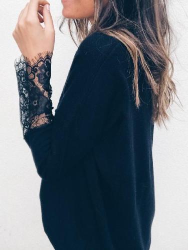 V Neck Lace Sleeve Plain Long Sleeve Woman Daily T-shirt