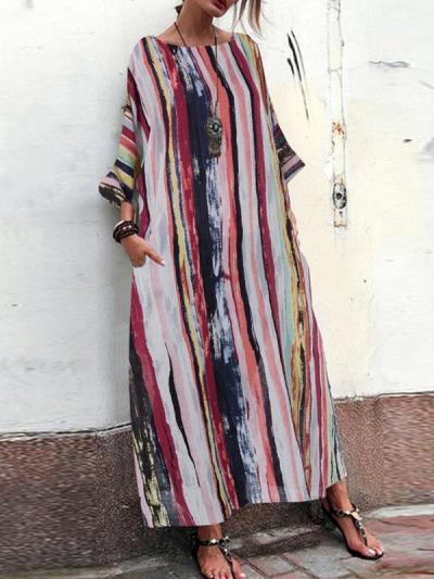 Loose Plus Size Three quanter sleeve women printed casaul maxi dresses