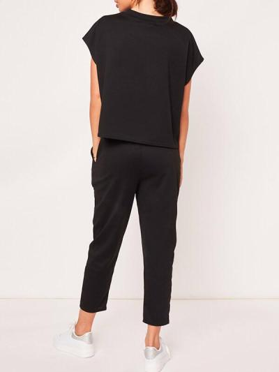 Short sleeve round neck seven-point trousers shirt 2-piece casual suits