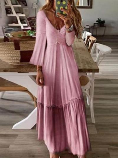 Sexy V neck high waist slim long sleeve maxi dresses
