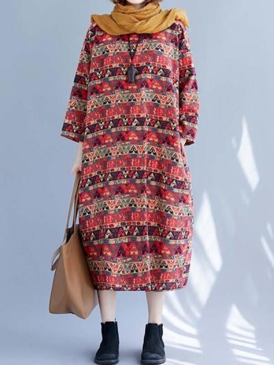Casual women bohemia printed long sleeve Maxi dresses