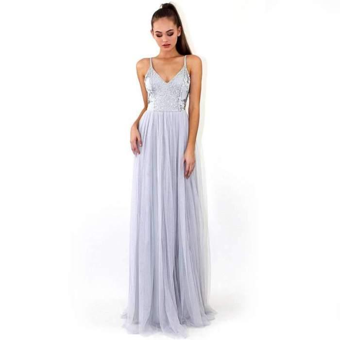 Sexy V neck Vest Evening Dresses