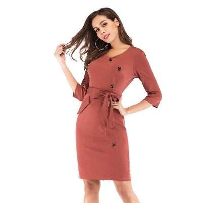 Fashion Work Lacing V neck  Fastener Bodycon Dresses