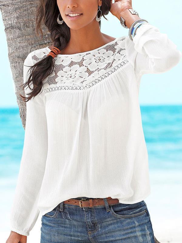 Women Round Neck Plain Lace Long Sleeve T-shirts