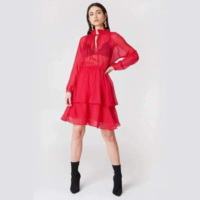 Sexy Lacing High collar Long sleeve Skater Dresses