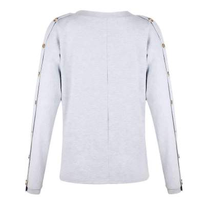 Fashion Pure Fastener V neck Long sleeve T-Shirts