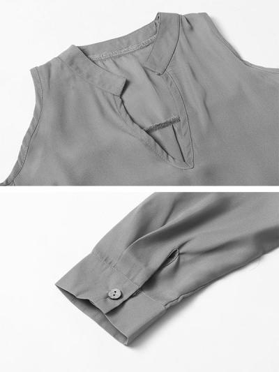 Chiffon long-sleeved Off shoulder v-neck irregular loose stand-up collar T-shirts