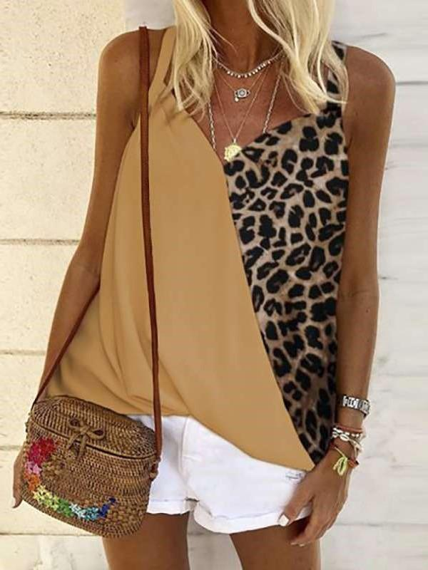 Fashion Gored Leopard print V neck Vest T-Shirts