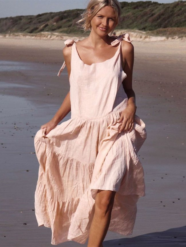 Fashion Loose Round neck Vest Maxi Dresses