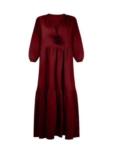 Women loose tie neck long sleeve maxi dresses