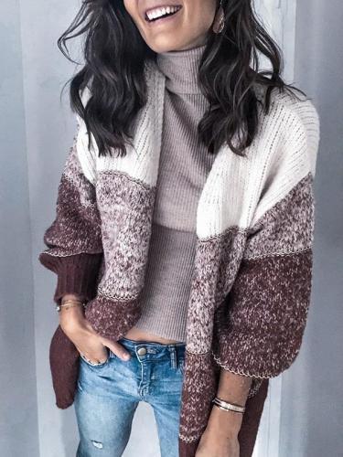 Chic stripe women long sleeve sweater knit cardigans