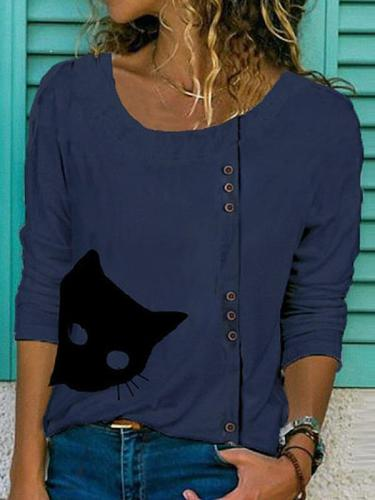 Cat Printed Buttons Round Neck Casual Long Sleeve  T-Shirts