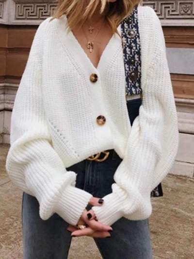 Loose Pure Knit V neck Fastener Sweaters Button Down Sweater Cardigan