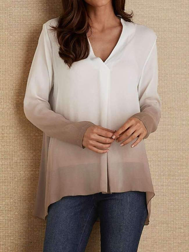 Fashion Gradient V neck Long sleeve Blouses