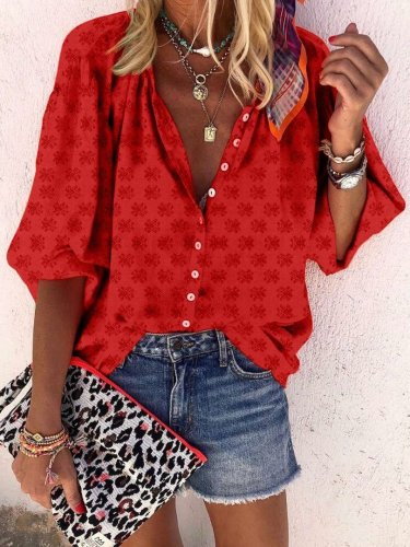 Casual Loose Lapel Long sleeve Print Blouses