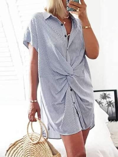 Women turn down neck short sleeve tie bodycon dresses