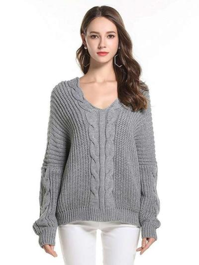 Loose Pure V neck Knit Long sleeve Sweaters