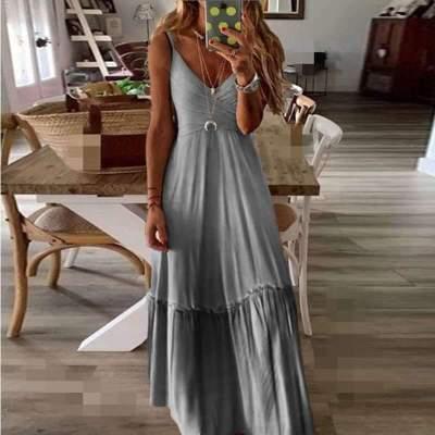 Loose V neck Gradient ramp Vest Maxi Dresses