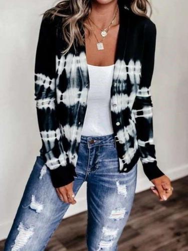 Casual Print Long sleeve V neck Knit Cardigan
