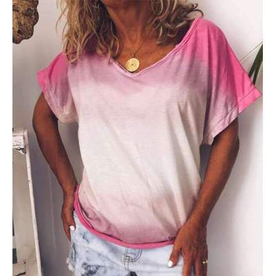 Casual Loose Gradient V neck Short sleeve T-Shirts