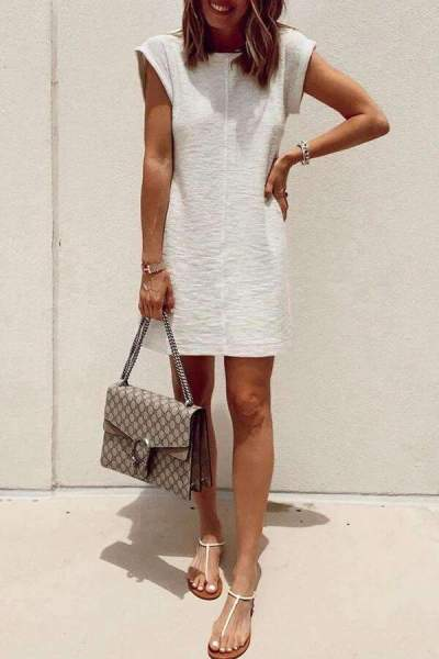 Casual Pure Round neck Short sleeve Shift Dresses