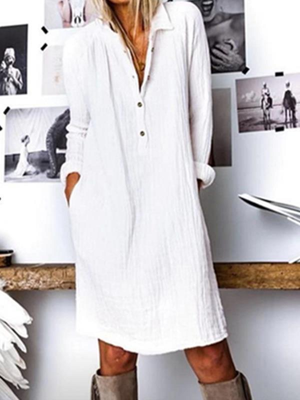 Plain V neck women long sleeve cotton blend Shift dresses