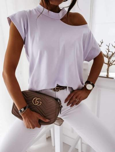 Pure Round neck Off shoulder Short sleeve T-Shirts