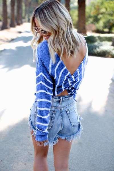 Fashion Backless Stripe Irregular T-Shirts