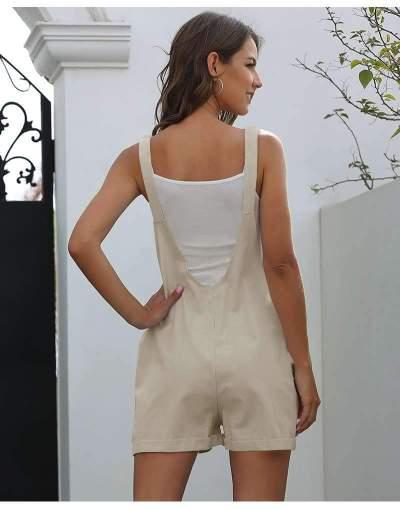 Casual Pure Pocket Short Jumpsuits