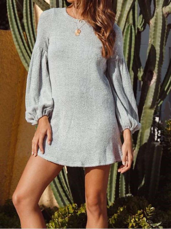 Fashion Pure Knit Long sleeve Shift Dresses