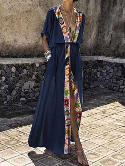 Sexy V Collar Hooks Splice Printed Open Maxi Dresses