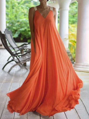 Fashion V neck Vest Chiffon Maxi Dresses