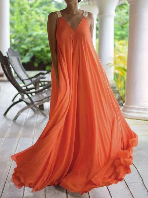 Fashion V neck Vest Chiffon Maxi Dresses