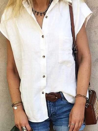 Fashion Pure Lapel Short sleeve Blouses